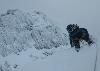 After 3 pitches, on Tower Ridge