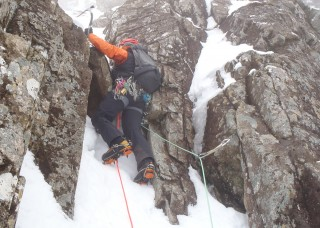 Mark finding the ice above the chockstone
