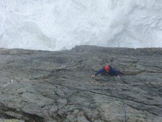 Matt climbing on Wen Slab, Gogarth