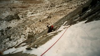 Sarah on Idwal Slabs in winter 2001